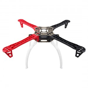 Weyland F450 Multi-Rotor Quadcopter Frame 4-Axis Airframe Frame (Red+Black)+ Landing Skid Gear(White) Wheel Rack Kit Support for DJI KK MK MWC RC Quad