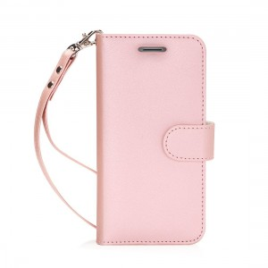 Moto G5 Plus Case, FYY [RFID Blocking wallet] 100% Handmade Wallet Case Stand Cover Credit Card Protector for Moto G5 Plus Rose Gold