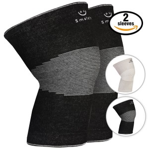 Smalets Bamboo Compression Knee Support Sleeves (1 Pair) –Powerful Joint Protection for Cross Training, Weightlifting, Running and More