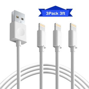 BUDGETandGOOD iPhone Charging Cables 3Pack 3Foot Lightning to USB Cable, Charging and Syncing USB Data Cable for iPhone 7 7 Plus SE 6s Plus 6 5s 5c 5 iPad Air Mini 4th Gen iPod Nano Touch ( White )