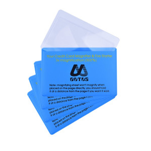 Outus 4 Pack Plastic Reading Magnifier Lens Credit Card Size Magnifier Wallet Pocket Lens Firestarter (300 % Magnifier Lens)