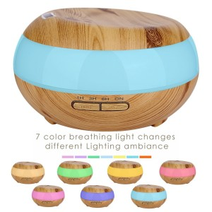Ledsniper 300ml Aromatherapy Essential Oil Diffuser Humidifier with 7 Color LED Lights and Waterless Auto Shut-off- Wood Grain