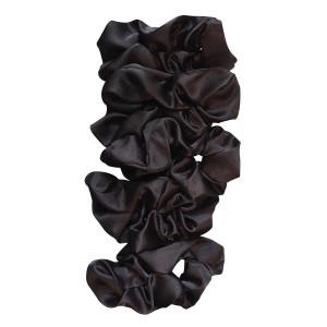 Satin Life Black Lightweight Satin Scrunchies (5 Pack)