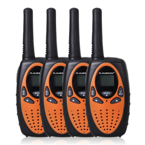 FLOUREON Walkie Talkies Two Way Radios 4 Packs 22 Channel 3000M (MAX 5000M open field) UHF Long Range Handheld Walkie Talky (Orange/Black)