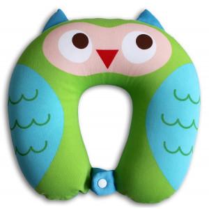 Nido Nest Kids Travel Neck Pillow - Best for Long Flights, Road Trips and Birthday Gift Ideas - U-Shaped Pillows Sized Best for Toddler, Preschool, Kindergarten, Elementary Children - OWL