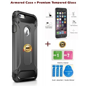 Armored Case iPhone 7 Cover Armor Hybrid Superior Hard PC and Pliable Rubber Drop Resistance Rugged Case Cover [+ Premium Tempered Glass Screen Protector] for iPhone 7 (Grey)