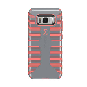 Speck Products CandyShell Grip Cell Phone Case for Samsung Galaxy S8 - Nickel Grey/Warning Orange