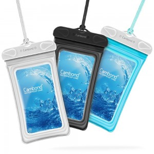 Waterproof Case, 3 Pack Cambond Universal Floating Waterproof Phone Case, Transparent TPU iPhone Waterproof Pouch Cell Phone Dry Bag with Durable Lanyard for device up to 6 inch, Black Blue White
