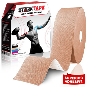 "Bulk Kinesiology Tape ~ Designed to Help Boost Athletic Performance, Prevent Joint and Muscle Pain and Ease Inflammation, Easy to Apply, 97% Natural Cotton /3% Spandex, 2""  W x 115' L, with Bonus eBook"
