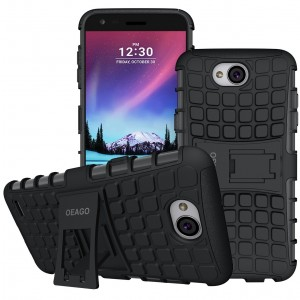 LG X Charge Case, LG Fiesta LTE Case, LG X Power 2 (2017) Case, OEAGO [Shockproof] [Impact Protection] Tough Rugged Dual Layer Protective Case with Kickstand for LG X Charge / LG Fiesta LTE - Black