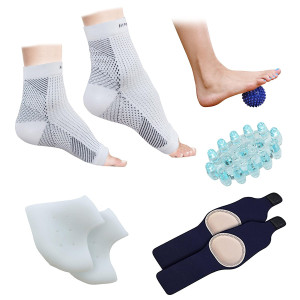 Plantar Fasciitis Foot/Ankle Compression Socks Sleeve (1 Pair), Silicone Heel Protector (1 Pair), Gel Arch Support (1 Pair), Foot Massager (1 Piece) and Spiky Foot Massage Ball (1 Piece) - (Pack of 8)