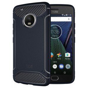 Moto G5 Plus Case, TUDIA Carbon Fiber Design Lightweight [TAMM] TPU Bumper Shock Absorption Case for Motorola Moto G5 Plus (Navy Blue)