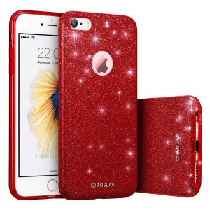iPhone 6 Plus / 6s Plus Case, ZUSLAB Rosy Series, Bling Luxury Shinning Bumper,Dual Layer Protective Glitter Cover for Apple iPhone 6 Plus / 6s Plus (Red)