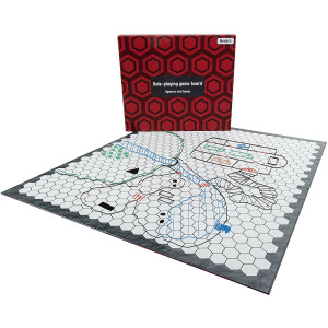 Hexers role playing game board: vinyl mat alternative - Dungeons and Dragons DandD DnD Pathfinder RPG play compatible - 27''x23'' - 1'' squares on one side, 1'' hexes on the other - Foldable and Dry Erase