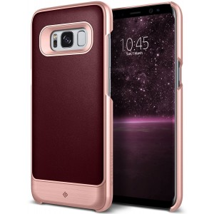 Galaxy S8 Case, Caseology [Fairmont Series] Slim Premium PU Leather Impact Protection Ultra Low-Profile for Samsung Galaxy S8 (2017) - Cherry Oak