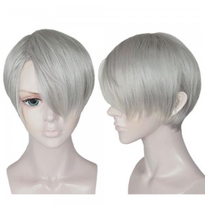 Anogol Hair Cap+Women's Men Wig Hair Straight Short Gray Cosplay Wigs With Bangs