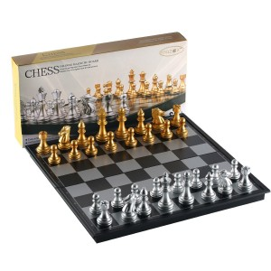 Folding Magnetic Travel Chess Set by MAZEX for Kids or Adults Chess Board Game 9.8X9.8X0.8 inch (GoldandSilver Chess Pieces)