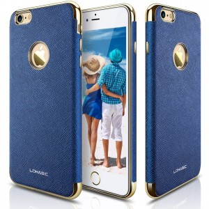 """iPhone 6s Case, iPhone 6 Case, LOHASIC [Premium Leather] Luxury Textured Back Cover Electroplate Frame [Slim Body] Flexible Soft Shockproof Cases for iPhone 6s and iPhone 6 - [Ink Blue-4.7"""" ]"""