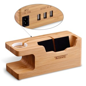 Tendak USB Charging Stand - with 3 USB Port 3.0 Hub Bamboo Wood Charging Dock Station for 38mm and 42mm iWatch and iPhone 6 6 plus 5S 5 7 7 plus and Other Smartphone