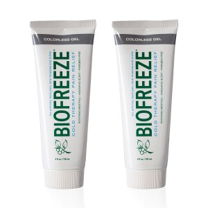 Biofreeze Pain Relief Gel for Arthritis, 4 oz. Cold Topical Analgesic, Fast Acting Cooling Pain Reliever for Muscle, Joint, and Back Pain, Works Like Ice Pack, Colorless Formula, Pack of 2, 4% Menthol