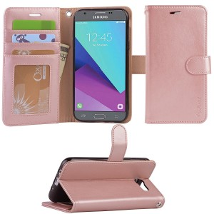 Galaxy J3 emerge case, Arae samsung galaxy J3 emerge 2017 wallet Case with Kickstand and Flip cover, Rosegold
