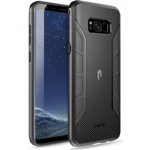 Poetic Karbon Shield Slim Fit Galaxy S8 Plus Case With Anti-Slip Side Grip and Carbon Fiber Texture for Samsung Galaxy S8 Plus Black