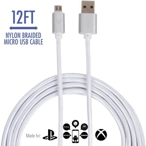 vCharged 12 FT Extra Long Micro USB Cord - Nylon Braided for Samsung Galaxy, HTC, LG, Windows, Android Smartphones and More