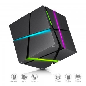 Bluetooth Speakers with Colorful LED Light, Mini Portable Bluetooth 4.0 Wireless Speaker Stereo Magic Cube Music Player Hand Free Speaker for iPhone iPad Samsung Galaxy MP3 MP4 CD Player (Black)