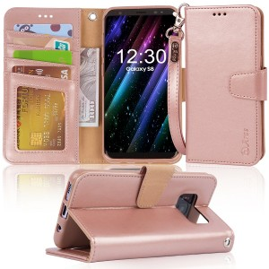 Galaxy s8 Case, Arae [Wrist Strap] Flip Folio [Kickstand Feature] PU leather wallet case with IDandCredit Card Pockets For Samsung Galaxy s8 (NOT for galaxy s8 plus), (Rosegold)