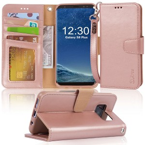 Galaxy s8 plus Case, Arae [Wrist Strap] Flip Folio [Kickstand Feature] PU leather wallet case with IDandCredit Card Pockets For Samsung Galaxy s8 plus(NOT for galaxy s8 ), (Rosegold)