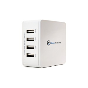 4-Port Universal USB Wall Charger with Intelligent ID Charging Technology, Foldable Plug, Samsung, iPad and iPhone Charger