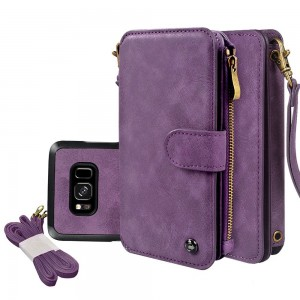 "Galaxy S8 Case, CORNMI Wallet Case 14 Card Slot Wristlet Replacement Shoulder Strap Flip Stand Leather Zipper Purse Detachable Magnetic Case For Galaxy S8 5.8""  (Purple for Samsung Galaxy S8 5.8"" )"
