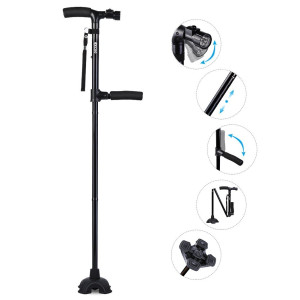 Self Standing Folding Walking Cane Lightweight Walking Stick with LED Light and Cushion Handle Adjustable Folding Cane for Men and Women