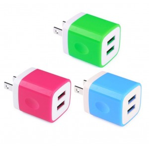 Universal Certified Dual USB Ports Power Portable Adapter 2.1A / 10W Travel Wall Charger for iPhone 7 6S SE, iPad Air Mini, Samsung Galaxy Note, Tablets and Most USB Device (Random Color)