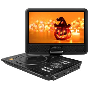 """APEMAN 9.5""""  Portable DVD Player with Swivel Screen Support SD card USB CD DVD AV Input/Output Earphone Speaker Port 5 Hours Built-in Rechargeable Battery Remote Control for TV Kids Car"""