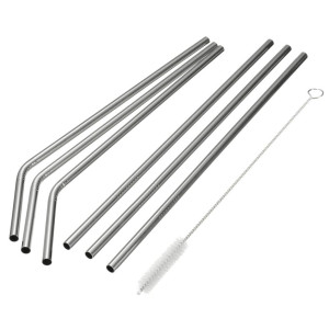 Stainless Steel Drinking Straws , Reusable Metal Drinking Straws with Cleaning Brushes for 30 oz 20 oz Yeti RTIC Tumbler Rambler Cups