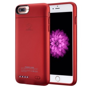 """iPhone 7 plus / 6 plus / 6S plus Battery Case, Ultra Thin Extended Rechargeable iPhone 7plus / 6 plus / 6S plus Case Battery with 4200mAh Capacity from SUNWELL (5.5"""" Red)"""