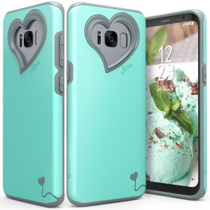 Galaxy S8 Plus Case, Vena [vLove][Heart-Shape | Dual Layer Protection] Hybrid Bumper Cover for Samsung Galaxy S8+ (Teal/Gray)