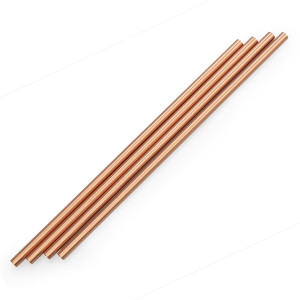 Copper Drinking Straws Set of 4,Reusable Straws for Moscow Mule Mugs and 20 oz Tumbler, Fits RTIC Tumbler | Fits all Yeti Ozark Trail SIC and RTIC Tumblers Cold Beverage,Cleaning Brush Included