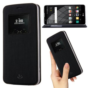 LG G6 Case,Premium Flip Leather Case View Window Sleep Wake Up Smart Cover Stand Kickstand Full Body Protective Magnetic Closure TPU Bumper Case for LG G6(Black)