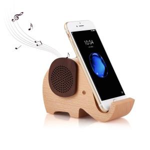 Artinova Elephant Shape Multifunctional Wooden Wireless Bluetooth Speaker with Mobile Phone Stand Holder ARTA-0031