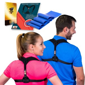 Posture Corrector Clavicle Support Brace for Women and Men + Resistance Band for Fix Upper Back Pain – Adjustable Posture Brace for Improve Bad Posture | Thoracic Kyphosis Brace by Only1MILLION