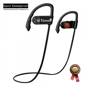 Efsound Bluetooth 4.0 Sport Stereo In-Ear Noise Cancelling Sweatproof Headset with Mic for iPhone 5s 6s Plus Samsung Galaxy S6 S5 Cell Phones - Black