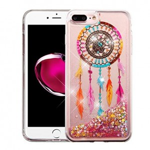 iPhone 8 Plus Case, iPhone 7 Plus Case - Apple Wydan Slim Hybrid Liquid Bling Glitter Sparkle Quicksand Waterfall Shockproof TPU Phone Cover - Dreamcatcher - Gold Stars