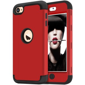 iPod Touch 5 Case,iPod Touch 6 Case,KZONO Heavy Duty High Impact Armor Case Cover Protective Case for Apple iPod touch 5 6th Generation (Red+Black)