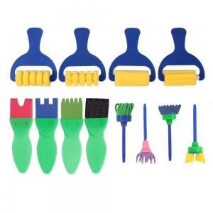 DIY Painting Brushes Toy, Luvu Mini Early Learning Hobby Paint Brushes Tools for Kids 12 PCS