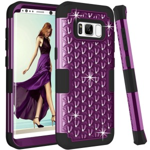 Samsung Galaxy S8 case, PIXIU Cute Rhinestone Bling Studded Resistant Shock-Absorption Hard Plastic+Soft Silicon rubber case for galaxy S8 2017 Release Purple / Black