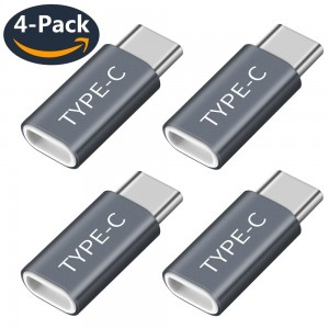 USB Type C Adapter 4 Pack,USB-C to Micro USB Adapter,USB C Convert Connector 56k Resistor for Samsung Galaxy Note 8 S8 S8 Plus +, Google Pixel, Pixel 2 XL, HTC 10, LG G5, Nexus 6P(Gray4)