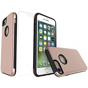 iPhone 7 and iPhone 8 Case Commuter Series Heavy Duty Dual Layer Ultra Hybrid Shockproof Protective Slim Case Hard Cover for Apple Cell Phone + Tempered Glass