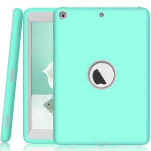 Walle Shop New iPad 9.7 2017 case,Slim Heavy Duty Shockproof Armor Defender Hard PC+Silicone Hybrid High Impact Resistant Full Body Protective Cover for Apple iPad 9.7 inch 2017 (mint)